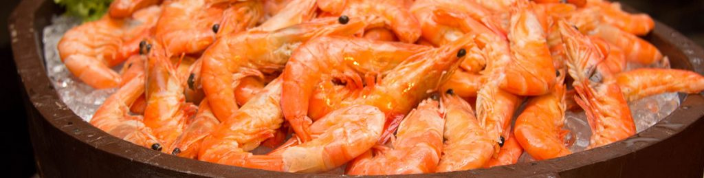 Cooked British prawns produced in Britain
